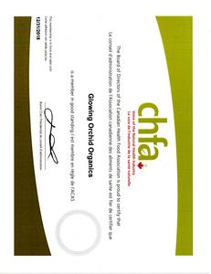 Canadian Health Food Association member certificate (CHFA)